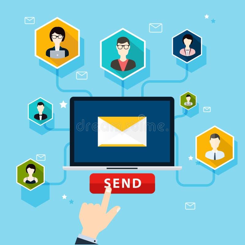连续电子邮件竞选,电子邮件广告,直接数字式市场 库存例证