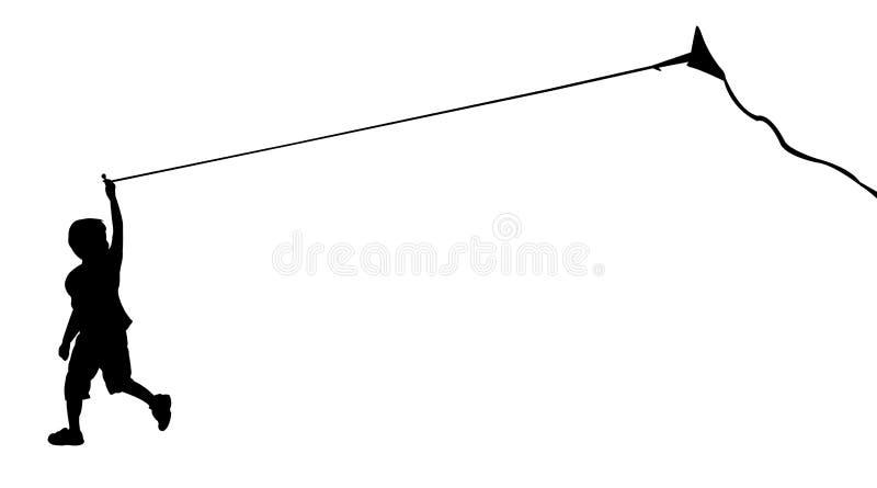 连续男孩剪影有飞行风筝的 向量例证