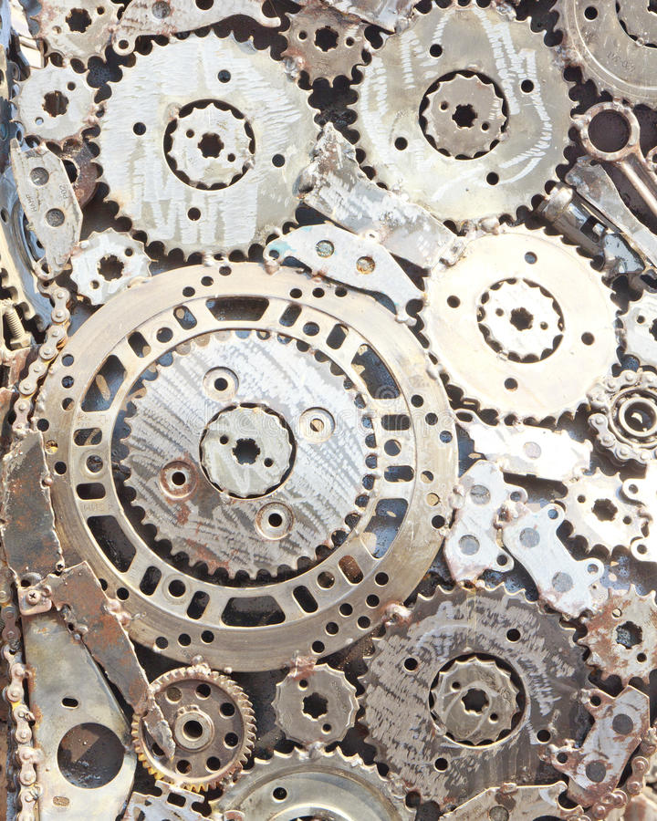 连结的金属齿轮 免版税库存图片