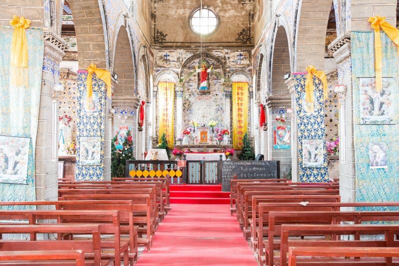迪庆,中国- 2015年3月17日:Cizhong天主教会  迪庆,云南,中国一个著名历史站点  免版税库存图片