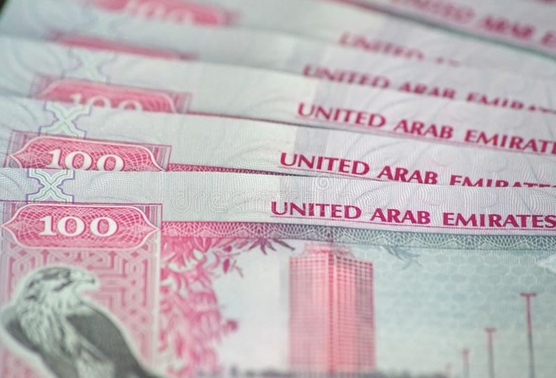 100迪拉姆特写镜头钞票,阿拉伯联合酋长国的正式货币 库存照片