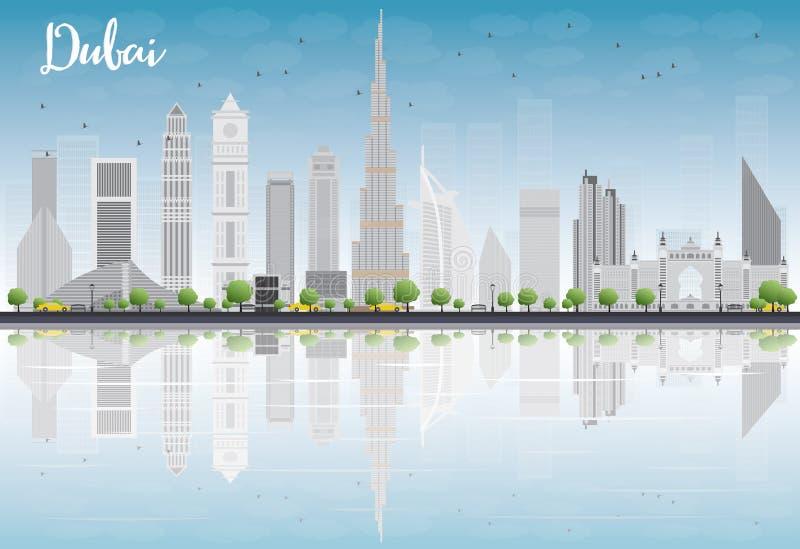迪拜与灰色摩天大楼、蓝天和reflectio的市地平线 库存例证