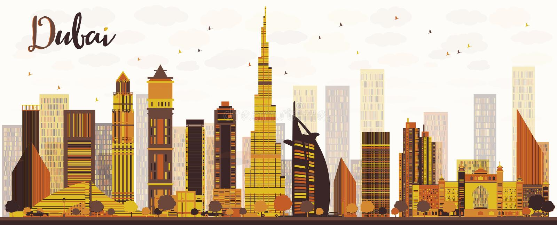 迪拜与金黄摩天大楼的市地平线 库存例证