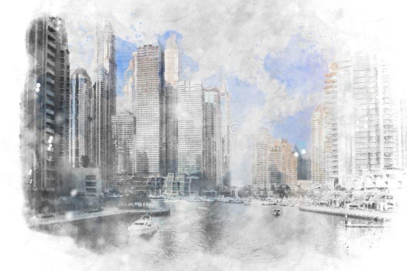 迪拜小游艇船坞,阿拉伯联合酋长国 在现代城市地平线的日出 皇族释放例证