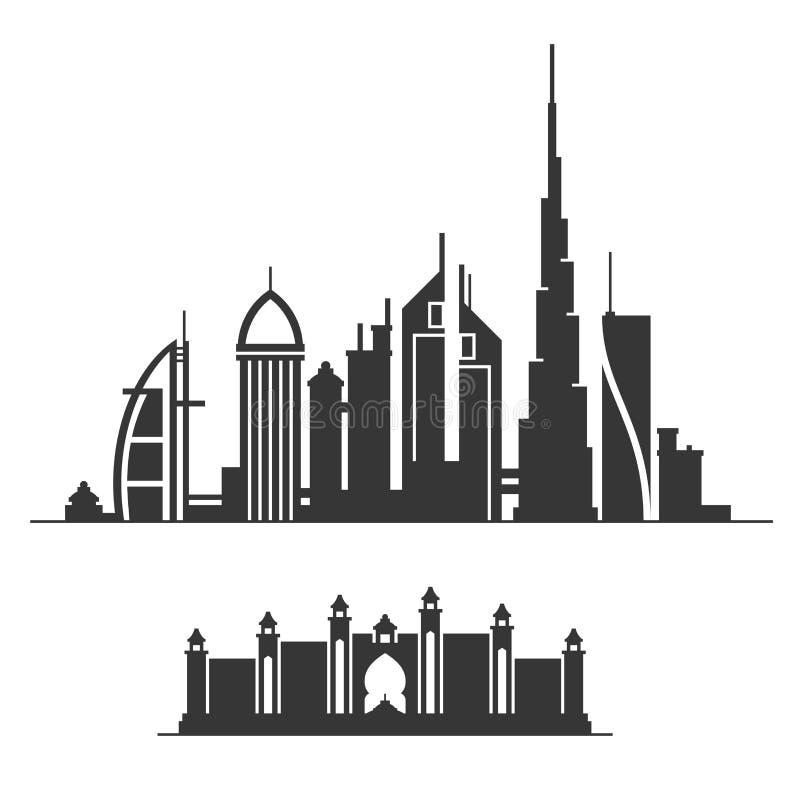 迪拜市在白色背景的地平线剪影 向量 皇族释放例证