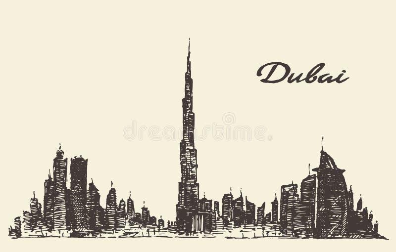 迪拜市地平线剪影得出的传染媒介 皇族释放例证