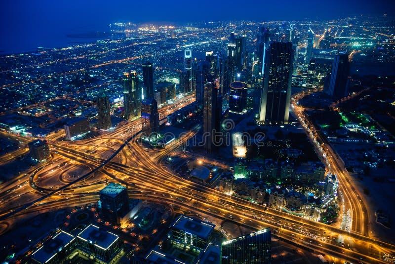 迪拜市晚上视图 免版税库存照片