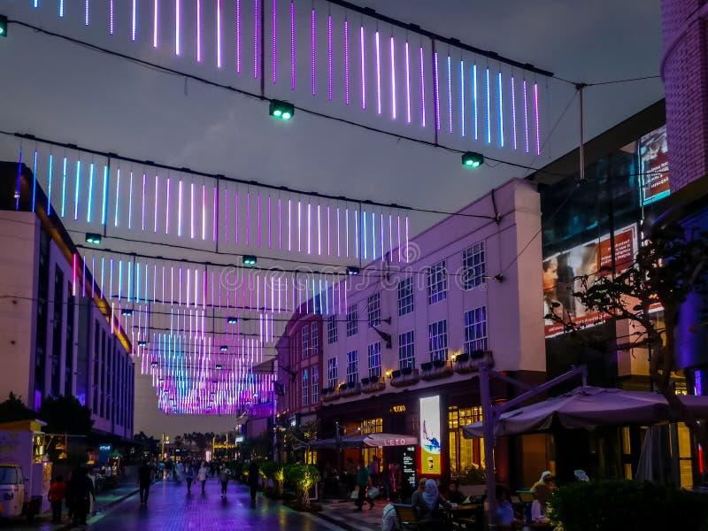 迪拜市步行的迪拜史诗霓虹灯室内设计在晚上 免版税图库摄影