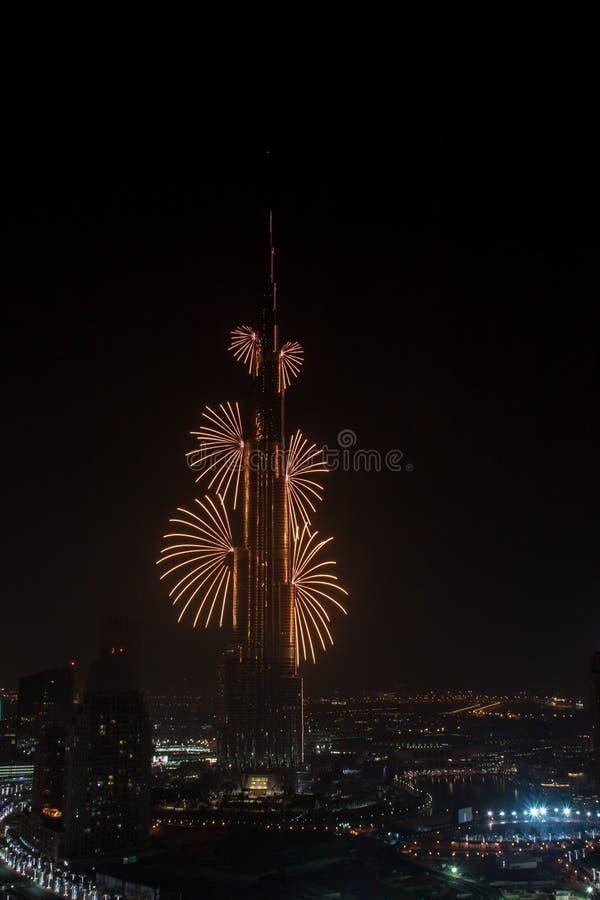 迪拜新年烟花 免版税库存照片