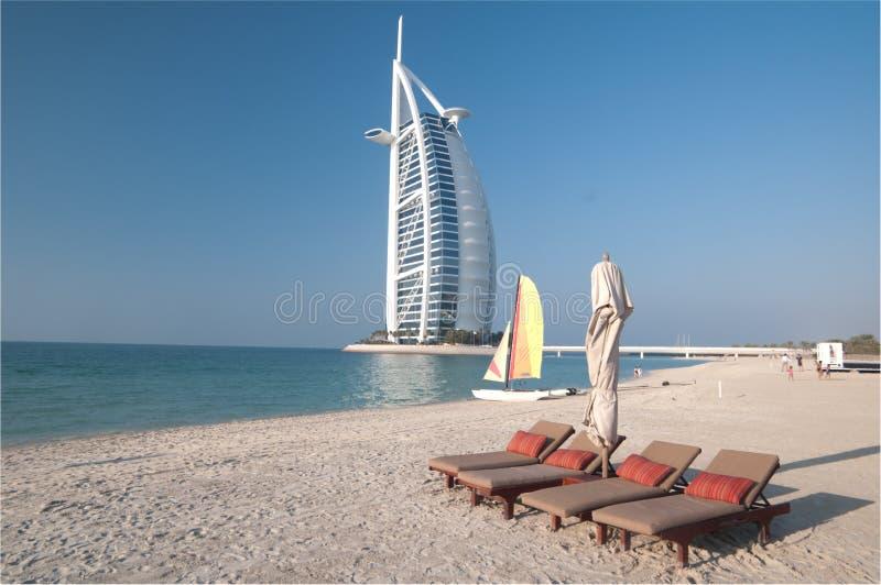 迪拜海滩,阿拉伯联合酋长国 免版税库存图片