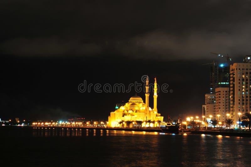 迪拜清真寺晚上视图 免版税库存照片