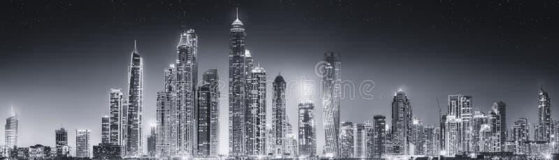 迪拜的秀丽全景,黑白 免版税图库摄影