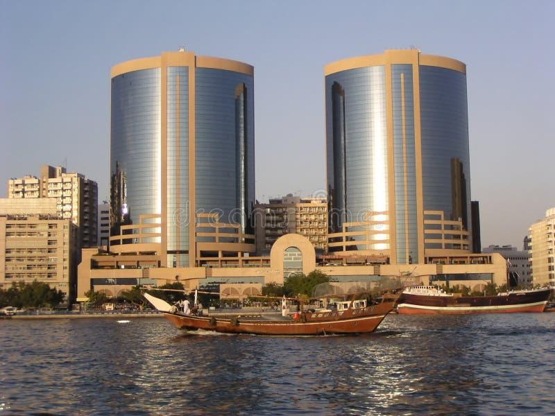 迪拜耸立孪生 免版税库存图片