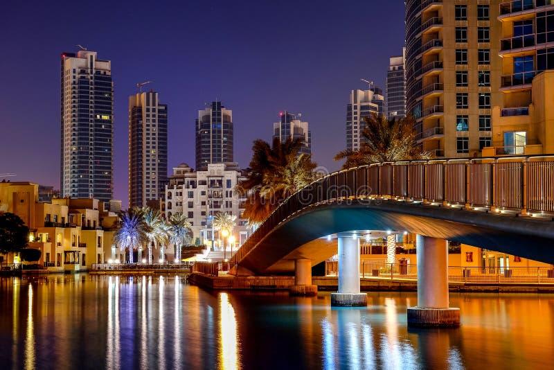 迪拜都市风景在黎明 库存照片