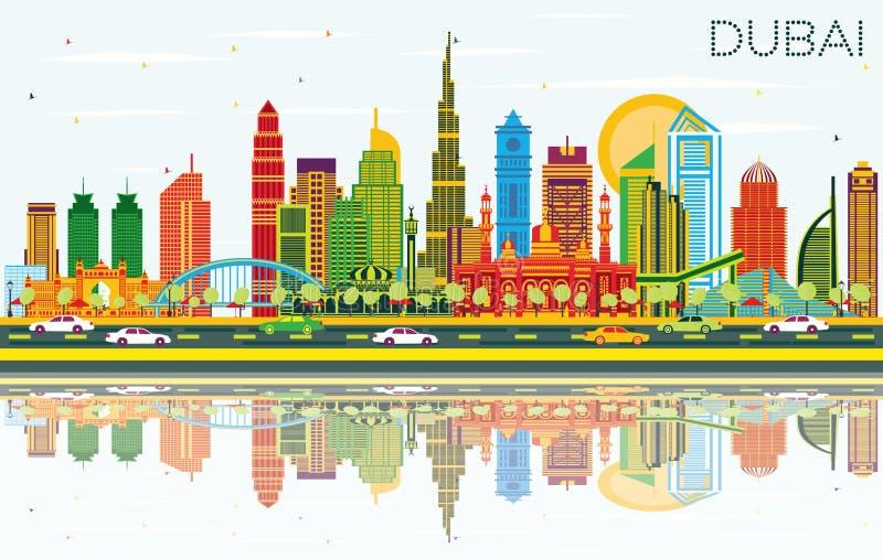 迪拜阿拉伯联合酋长国与颜色大厦、天空蔚蓝和反射的市地平线 库存例证