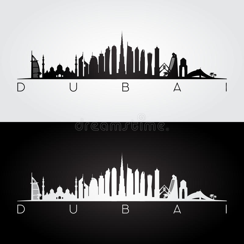 迪拜阿拉伯联合酋长国地平线和地标剪影 皇族释放例证