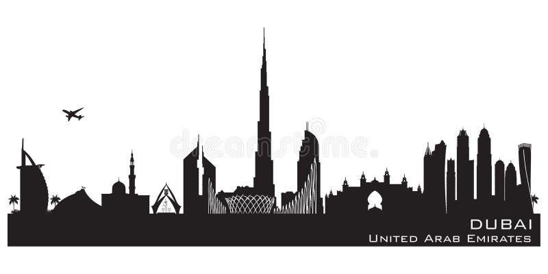 迪拜阿拉伯联合酋长国市地平线传染媒介剪影 库存例证