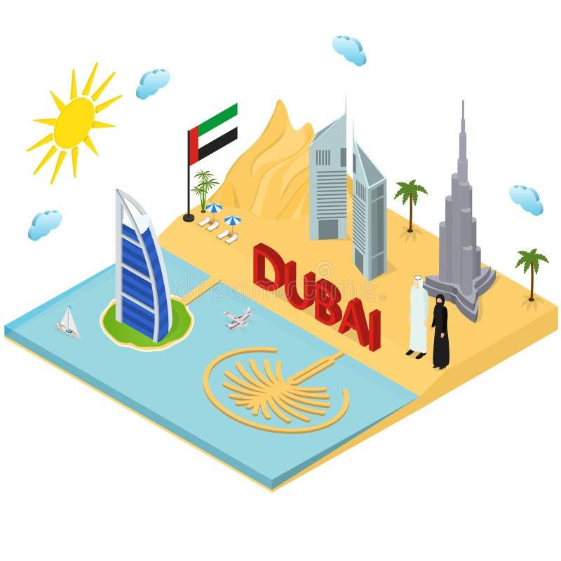 迪拜阿拉伯联合酋长国移动和旅游业概念3d等轴测图 向量 皇族释放例证