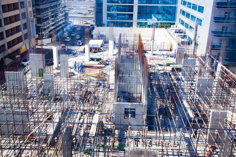 迪拜,阿拉伯联合酋长国- 2018年2月:建筑活动在迪拜 免版税库存照片