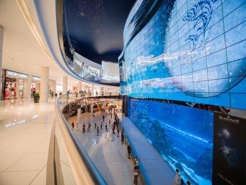 迪拜,阿拉伯联合酋长国- 2018年5月15日:在迪拜购物中心-世界` s最大的商城,街市Burj哈利法的水族馆 免版税库存图片