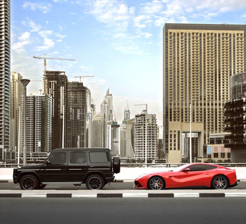 Download 迪拜,阿拉伯联合酋长国- 2016年3月18日:在与豪华汽车的下午交通期间大厦沿迪拜小游艇船坞的看法和摩天大楼走 编辑类图片 - 图片 包括有 ferrari, 气体: 72369320