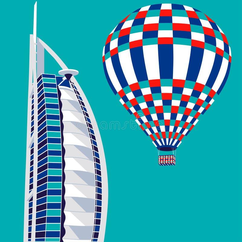 迪拜,阿拉伯联合酋长国- 2016年3月22日:导航Burj Al阿拉伯旅馆和气球的例证 库存例证