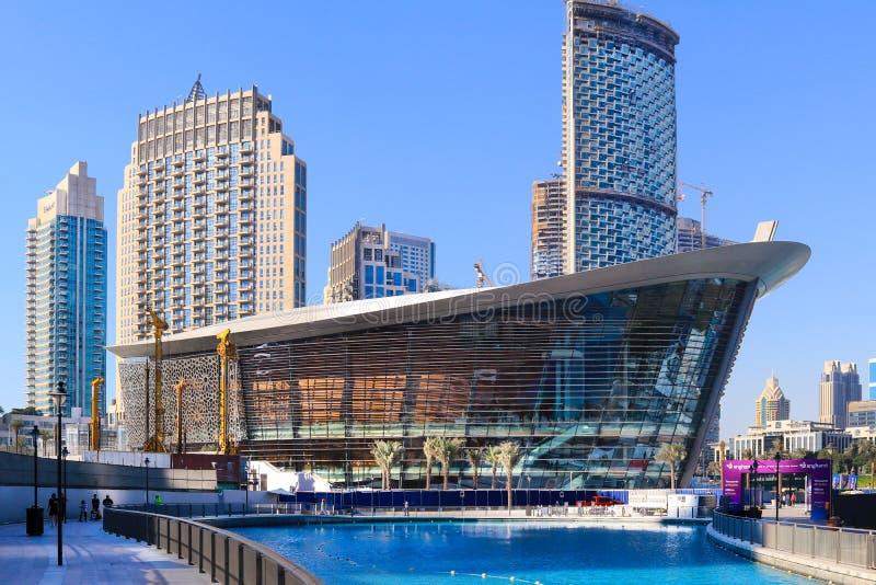 迪拜,阿拉伯联合酋长国-现在29 :迪拜歌剧艺术在现在29集中,如被看见, 2017年在歌剧区街市,默罕默德回教族长 免版税库存照片