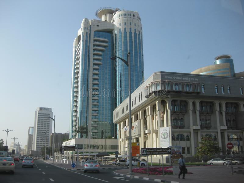 迪拜-在机场和港口区域之间的商业区 免版税库存图片