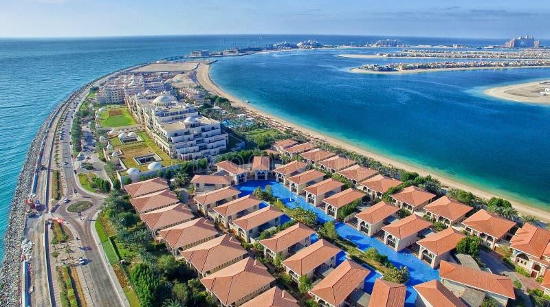 迪拜Jumeirah棕榈,鸟瞰图 免版税图库摄影