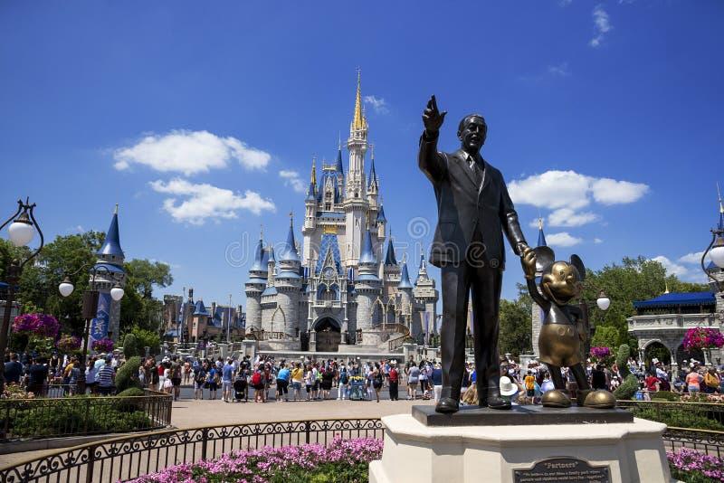 迪斯尼世界城堡和米老鼠 奥兰多,佛罗里达 免版税库存图片