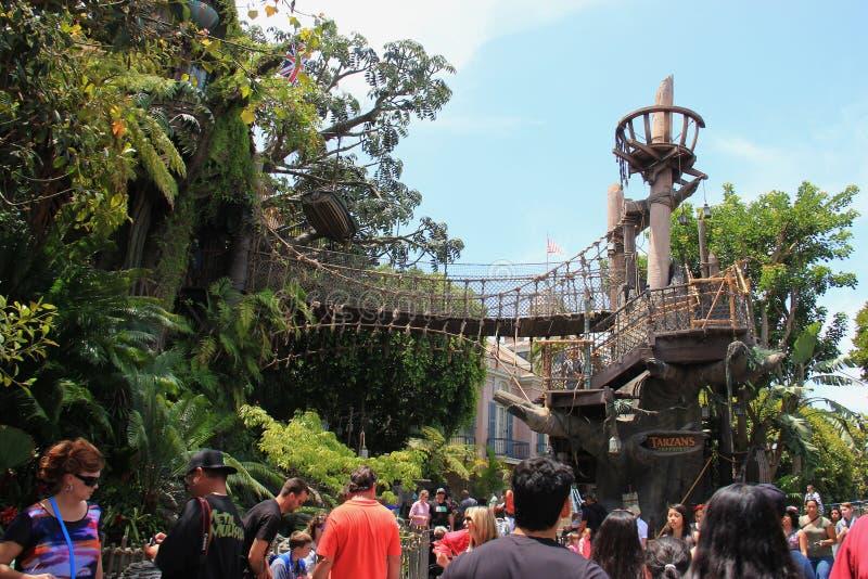 迪斯尼乐园的Tarzan的树上小屋 免版税库存照片