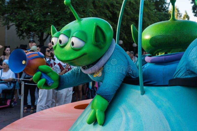 迪斯尼玩具总动员游行绿色外籍人 免版税库存图片