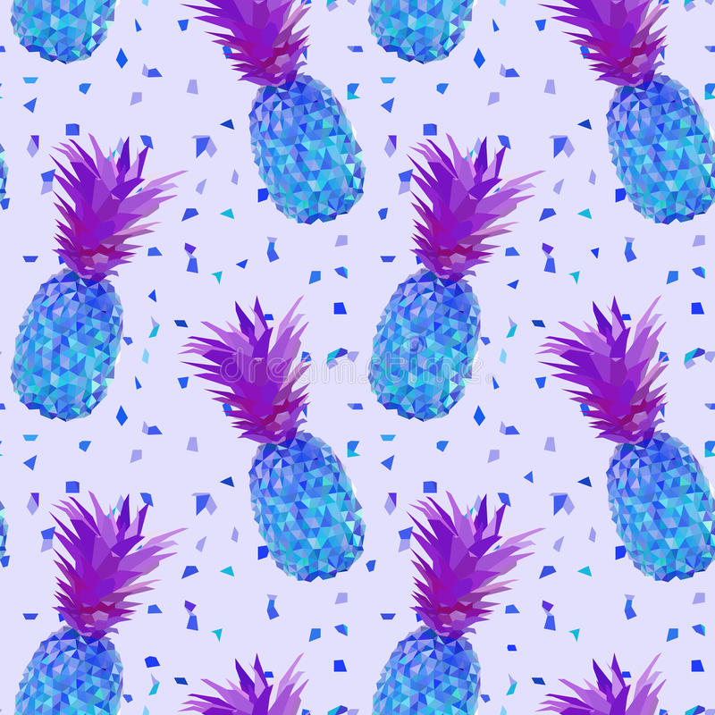 迪斯科低多菠萝样式 库存例证