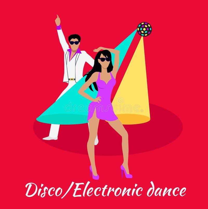迪斯科和电子舞蹈概念平的设计 库存例证