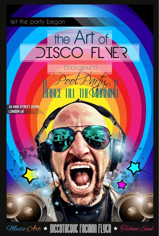 迪斯科夜总会与DJ形状的飞行物布局 向量例证