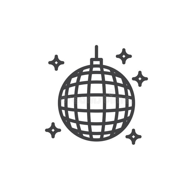 迪斯科球线象,概述传染媒介标志,在白色隔绝的线性样式图表 库存例证
