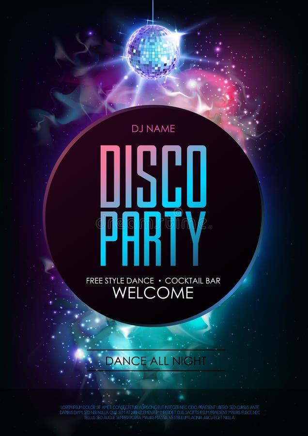 迪斯科球背景 在露天场所背景的迪斯科聚会海报 向量例证