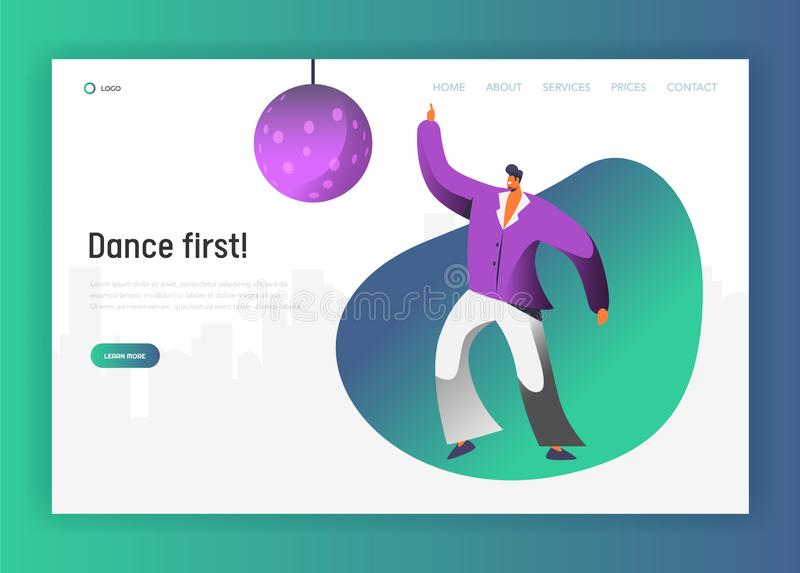 迪斯科球舞蹈家字符着陆页 减速火箭的舞蹈人生活方式 夜生活网站或网页的热病概念 库存例证