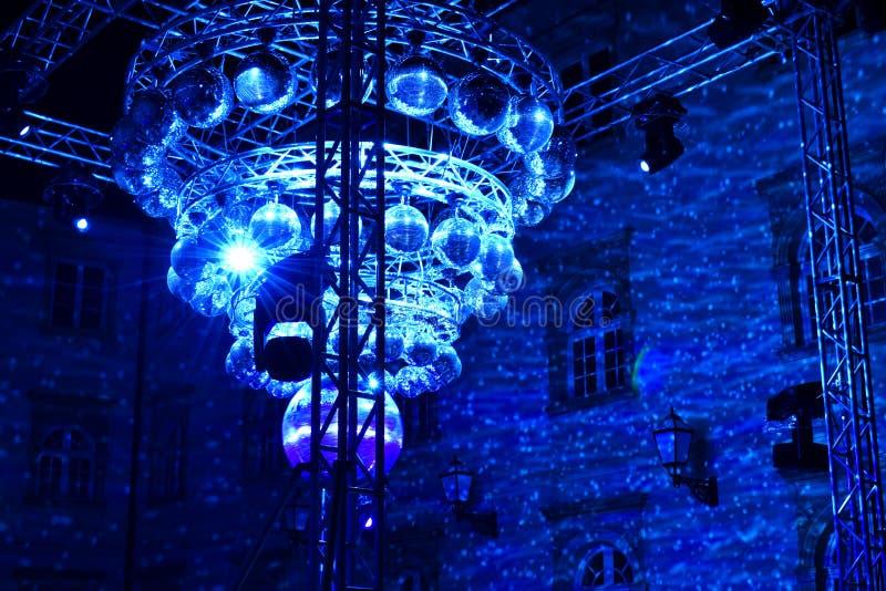 迪斯科球艺术设施在萨格勒布,克罗地亚 免版税库存照片