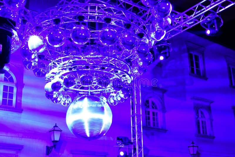 迪斯科球艺术设施在萨格勒布,克罗地亚 库存照片