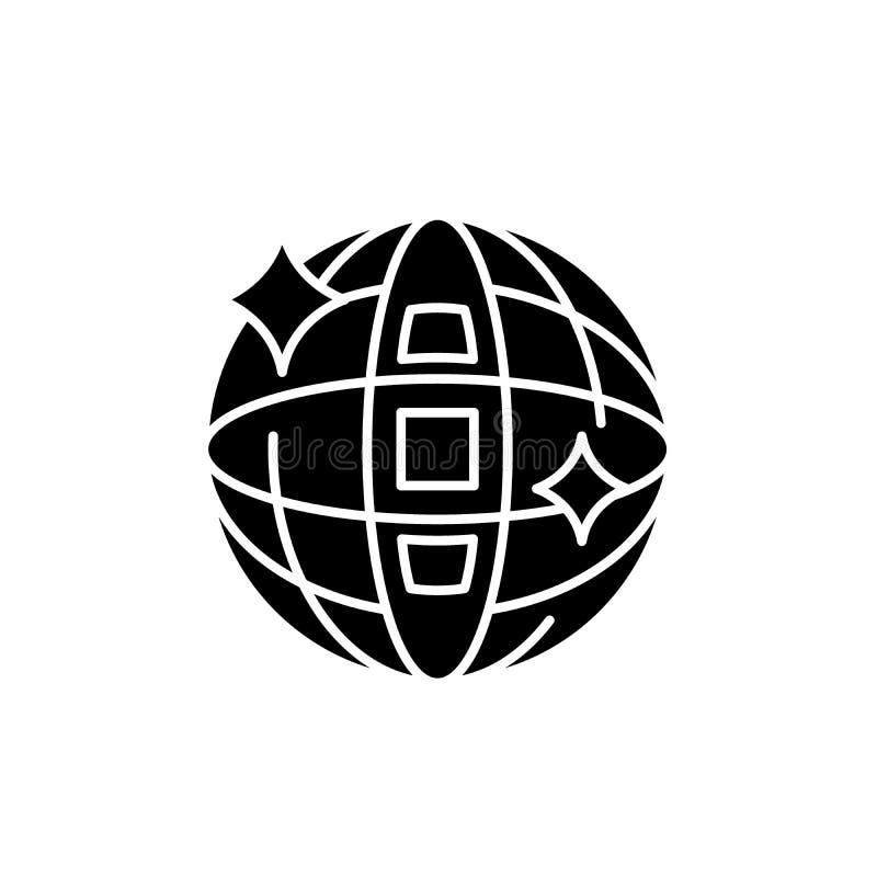 迪斯科球黑色象,在被隔绝的背景的传染媒介标志 迪斯科球概念标志,例证 皇族释放例证