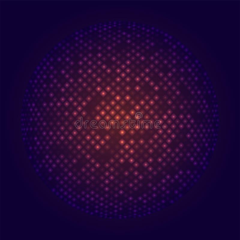 迪斯科聚会摘要在无缝的背景时髦样式透明焕发霓虹灯作用传染媒介例证的球形球 皇族释放例证