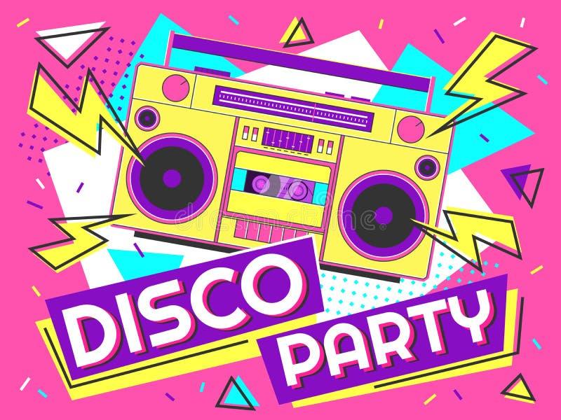 迪斯科聚会横幅 减速火箭的音乐海报、90s收音机和磁带球员质朴的五颜六色的设计传染媒介背景 库存例证