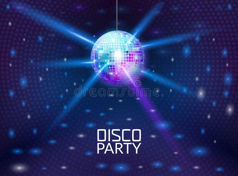 迪斯科聚会背景 音乐舞蹈传染媒介设计为做广告 迪斯科球飞行物或海报设计电视节目预告 向量例证