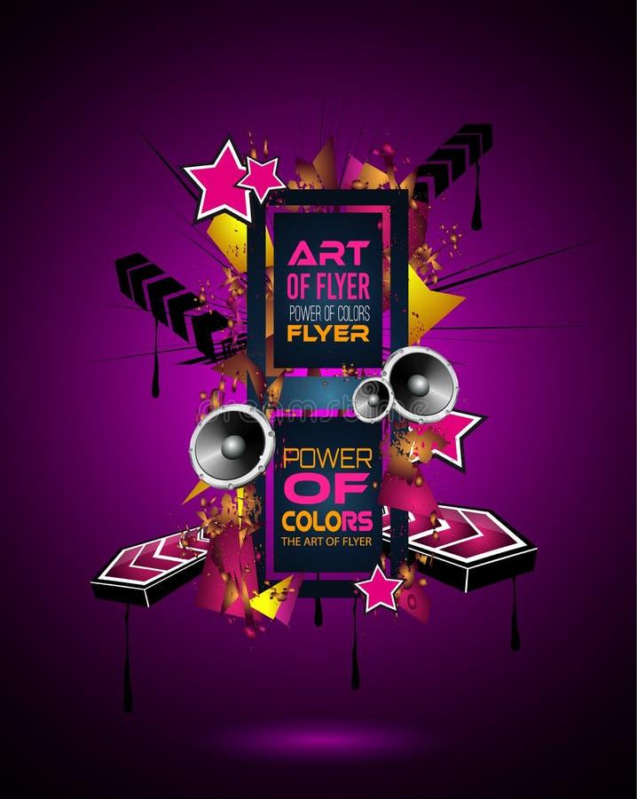 迪斯科舞蹈艺术与颜色抽象形状和下落的设计海报  库存例证