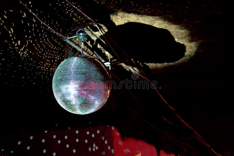 迪斯科镜子球光 库存照片
