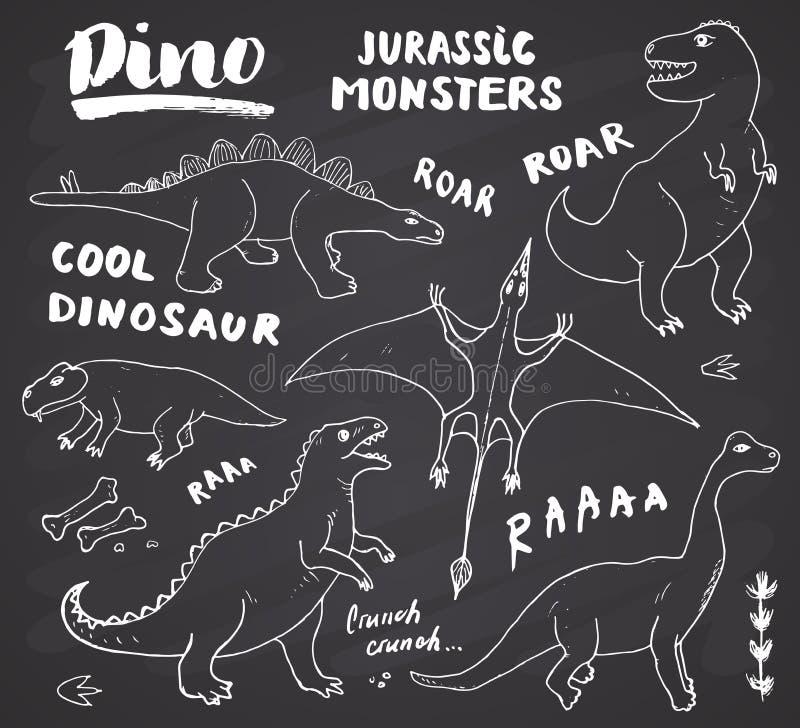 迪诺乱画集合 逗人喜爱的恐龙剪影和字法收藏 在黑板的手拉的动画片迪诺传染媒介例证 皇族释放例证