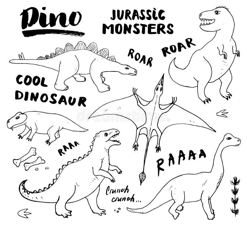 迪诺乱画集合 逗人喜爱的恐龙剪影和字法收藏 手拉的动画片迪诺传染媒介例证 皇族释放例证