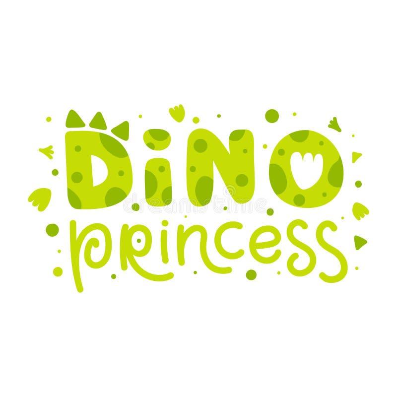迪诺公主 与恐龙元素和滑稽的字法的幼稚印刷品 : 皇族释放例证