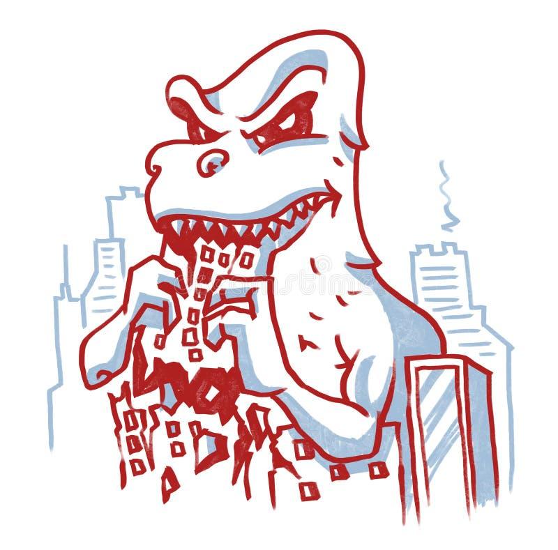 迪诺吃大厦毁坏了城市 向量例证